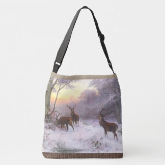 Red Deer Elk Wildlife Animals Snow Tote Bag