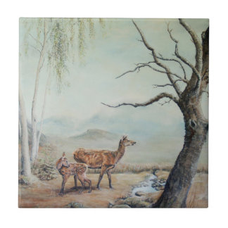 Red deer hind and fawn. ceramic tile