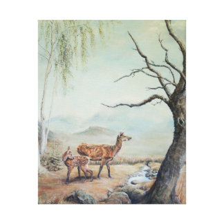 Red deer hind with her fawn, art. canvas print