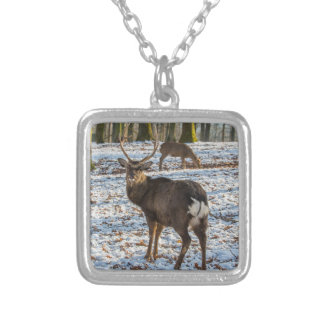 Red Deer in Snow Silver Plated Necklace