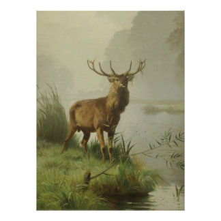 Red Deer painting Poster