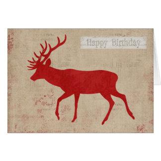 Red Deer Silhouette Birthday  Card