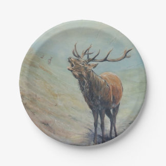 Red deer stag bellowing in a highland glen. paper plate