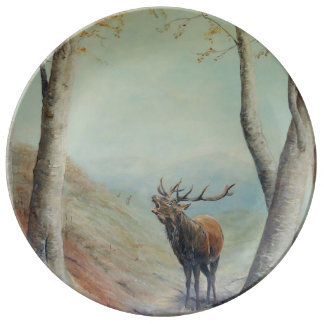 Red deer stag bellowing in a highland glen. plate