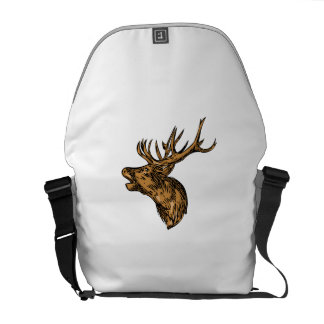 Red Deer Stag Head Roaring Drawing Courier Bags