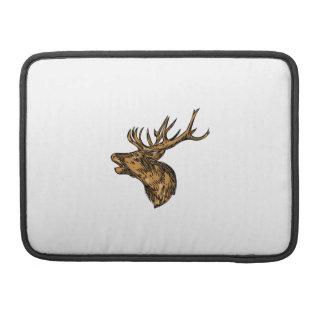 Red Deer Stag Head Roaring Drawing Sleeve For MacBook Pro