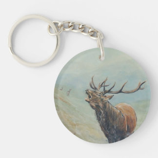 Red deer stag with hind and fawn on back. Double-Sided round acrylic key ring