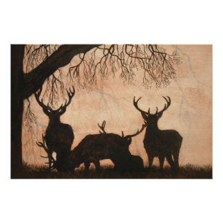 Red Deer Stags Poster