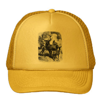 Red Deer Vintage Wood Engraving Mesh Hat