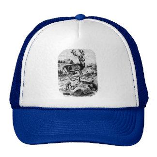 Red Deer Vintage Wood Engraving Mesh Hats