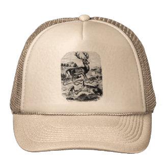 Red Deer Vintage Wood Engraving Hat