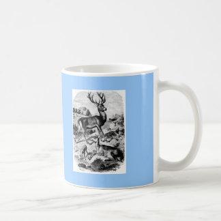 Red Deer Vintage Wood Engraving Mug