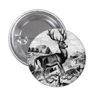 Red Deer Vintage Wood Engraving Pinback Button