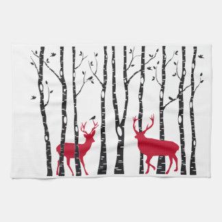 Red deers in birch tree forest tea towel
