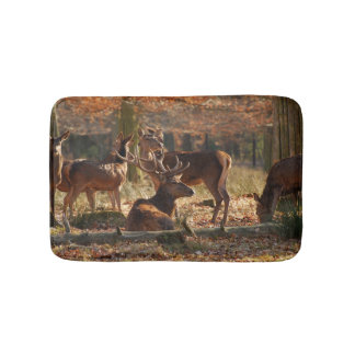 Red Deers In The Autumnal Wood Bath Mat