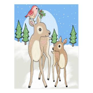 Red deers of Christmas Postcard