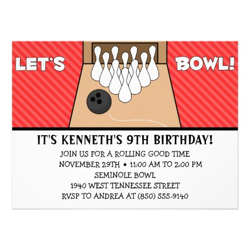 Red Delicious Let's Bowl Bowling Birthday Party Personalized Invitations