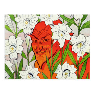 Red Devil hiding among white Easter lilies Postcard