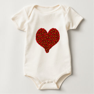 Red Dhalia Flowers Heart Infant Creeper