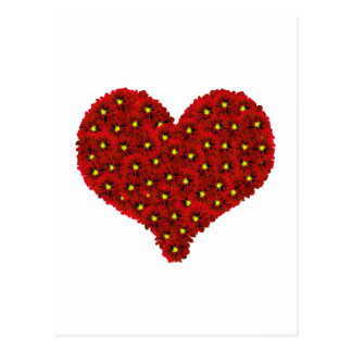Red Dhalia Flowers Heart Postcard