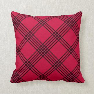 Red Diagonal Plaid American MoJo Pillo Throw Cushions