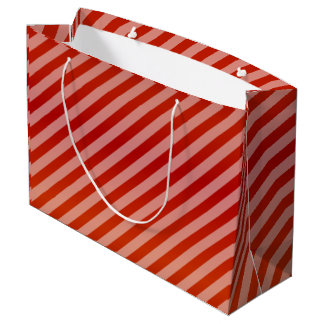 Red Diagonal Stripe Pattern Large Gift Bag