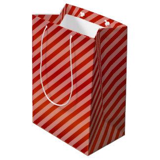 Red Diagonal Stripe Pattern Medium Gift Bag
