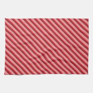 Red Diagonal Stripes Kitchen Towel