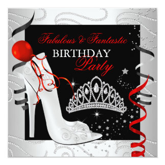 RED Diamond Black White Birthday Party 5.25x5.25 Square Paper Invitation Card