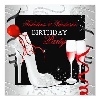 RED Diamond Black White Champagne Party 5.25x5.25 Square Paper Invitation Card