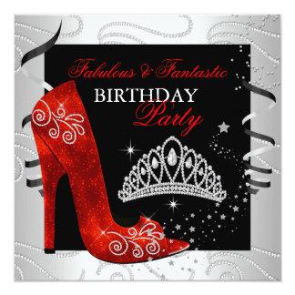 RED Diamond Black White Party 5.25x5.25 Square Paper Invitation Card