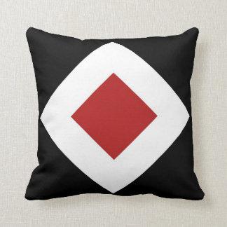 Red Diamond, Bold White Border on Black Cushion