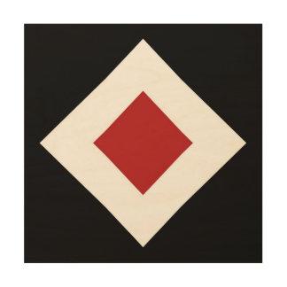 Red Diamond, Bold White Border on Black Wood Prints