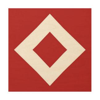Red Diamond, Bold White Border Wood Canvas