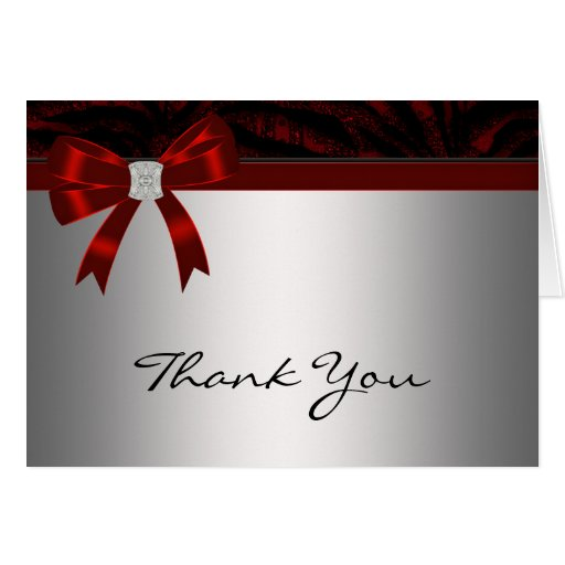 Red Diamond Bow Silver Red Thank You Card