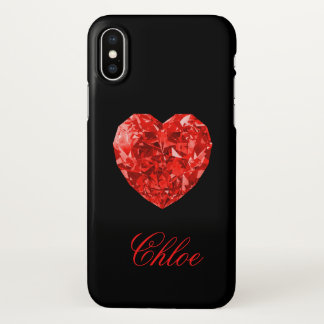 Red Diamond Heart Name iPhone X Case