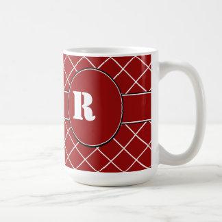 Red Diamond Monogrammed Mens Basic White Mug