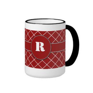 Red Diamond Monogrammed Mens Mug