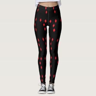 Red Diamonds Black background Leggings