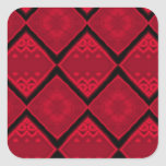 red diamonds pattern square stickers