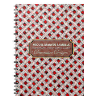 Red Diamonds White Decorative Lines Notebooks