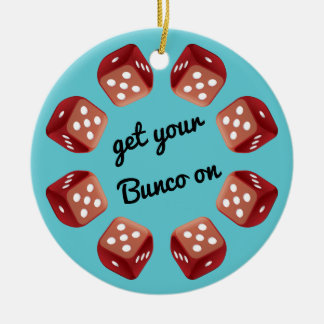 Red Dice Circle - Add Your Own Message Ceramic Ornament