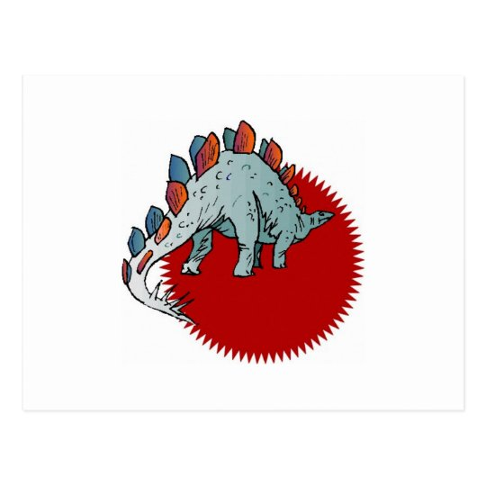 Red dinosaur postcard