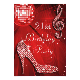 "Red Disco Ball and Sparkle Heels 21st Birthday 5"" X 7"" Invitation Card"