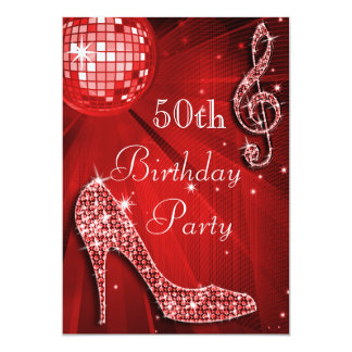 "Red Disco Ball and Sparkle Heels 50th Birthday 5"" X 7"" Invitation Card"