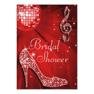 "Red Disco Ball and Sparkle Heels Bridal Shower 5"" X 7"" Invitation Card"
