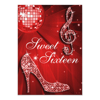 "Red Disco Ball and Sparkle Heels Sweet 16 5"" X 7"" Invitation Card"