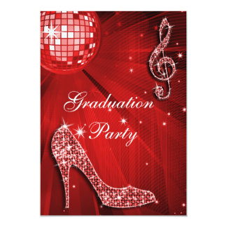 "Red Disco Ball Sparkle Heels Graduation 5"" X 7"" Invitation Card"
