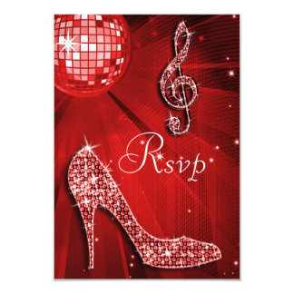 "Red Disco Ball Sparkle Heels RSVP 3.5"" X 5"" Invitation Card"