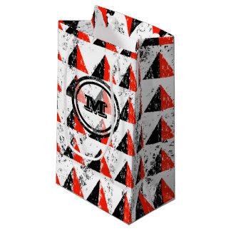 Red Distressed Geometric Monogram Small Gift Bag